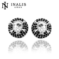 2014 high quality white gold plated men earring with screw back