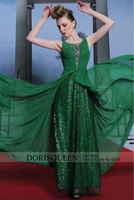DORISQUEEN Dropshipping wholesale new arrivals floor length shiny sequins new long sexy plus size lime green cocktail dress