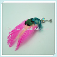 Factory feather steel belly navel dermal piercing ring jewelry