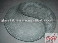 clear Yin Yang tempered glass plate,tempered glass serving plate
