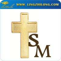 Promotion cheap metal christian lapel pin with cross shaped