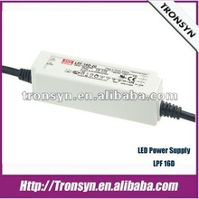 MEANWELL LED Driver 15W 36V with PFC 1~10V PWM dimming function UL/CB/CE plastic case LPF-16