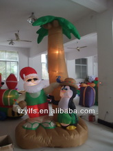Inflatable Santa Claus and penguin with palm tree/ air blown Christmas decoration