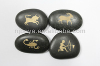 carved pebble stone with animal, engraved pebble stone, pebble stone craft