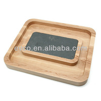 Birch Wood Chip and Dip Set w/Slate