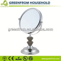 7 Inch Plastic Round Woven Fabric Backed Silver Mirror