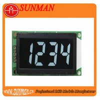 4 digits transparent lcd display with white digits black background