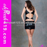 Hot wholesale backless design leather short prom dress