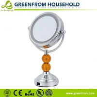 Decorative double acrylic magnified makeup mirrors with lights