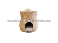 Pet product: Round water hyacinth dog bed, two-floor, haft round door, cushion inside - CH2264A/1NA
