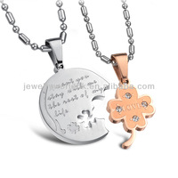 Valentine fashion couple white and rose golden stainless steel four leaf clover necklace