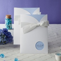 Light Sky Blue Pocket Wedding Invitation Card W1111