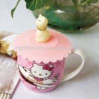 cute kitty silicone mug glass cover lid