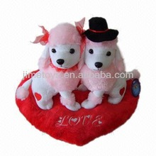 JM6531 Wedding Plush Toy with Two Dogs on the Heart