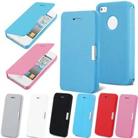 Ultra thin slim folio flip pu leather magnetic case for iphone 5 / 5s