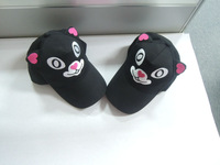 2014 fashion custom high quality 100% cotton twill baseball cap with ear flaps and cartoon funny embroidery logo