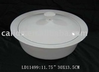 LD11499 hot sale white ceramic restaurant food and soup pot with cover