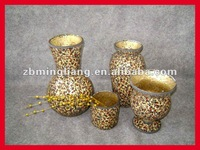 tempered animal print glass mosaic vases