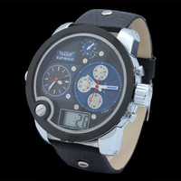 EPOZZ 2014 hottest analog&digital wrist watch genuine leather strap brands for men