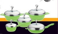 Well equipped kitchenware happy call 7pcs pressing aluminum cookware set
