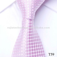 fashion pink plaid silk men's necktie