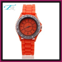 2016 hot stainless steel back geneva watch with colorful fashion silicone rubber band wholesale