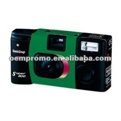 Disposable black one way camera with flash