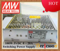 MEAN WELL AC/DC Power Supply Unit 5V 20A Output 115/230VAC by switch Input UL CUL CB NES-100-5