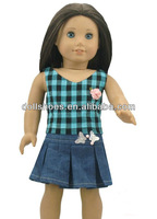 Fashion and cute american girl doll checked vest with jean skirt