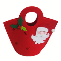 (GB-08) Red/Green Santa Reindeer Felt Christmas Gift Bag