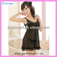 Newest sexy black hot girls nighty lingerie