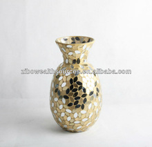 Tall Black Glass Mosaic Vase for Flower