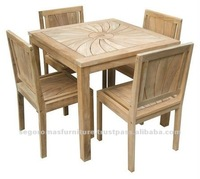 TEAK OUTDOOR FURNITURE FOR GARDEN - RADIANT SQUARE DINING SET BY PT SEGORO MAS