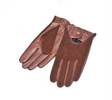 Man's Cool Fashion Sheep And Pig Suede Combined Leather Gloves in Camel