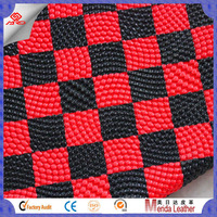 Simple design red and black plaid china embossed pattern rleather