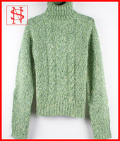 Heavy weight cables sweater women handmade knit wool pullover
