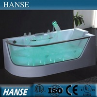 HS-B307 Modern transparent glass japan massage european soaking arab tub