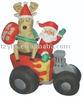 Inflatable Air blown Santa Clause with Reindeer in A Truck