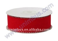 Christmas Decoration Flocked Velvet Ribbon with Wire Edge