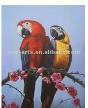 New designed oil paintings of parrots for decoration