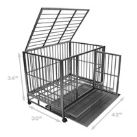 Heavy Duty Dog kennel Animal Cage double Doors Metal Tray Pan
