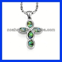 mother of pearl cross stainless steel pendant