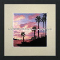 37078-Palm Trees on the Beach at Sunset--Susho, King Silk Art 100% Handmade Silk Embroidery