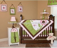 crib baby bedding set girls with lovely applique & printing