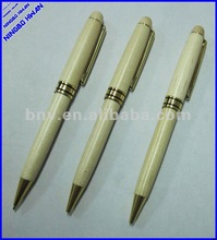 Quality promotional wooden twist ball pen with metal clip