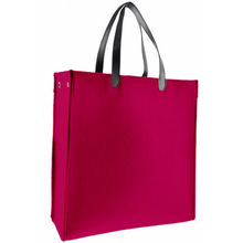 Felt shopping tote bag with pu handles