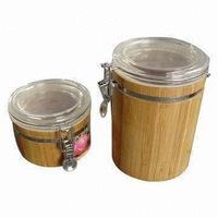 Bamboo Canister with Plastic lip, different tall can be done.