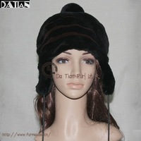 ZYK014A Genuine Rex Rabbit Fur Hat with Ear Muffs