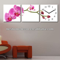paintings wall flowers clock,Orchid flower clock,flower S3 decorative clock