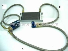 aluminum relocated oil cooler kit with adaptor